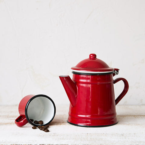 Small Red Enamelware Coffee Pot