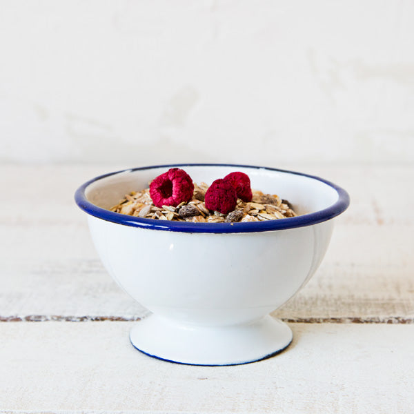 White Enamelware Bowl with support