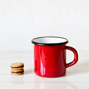 Red Enamelware Mug