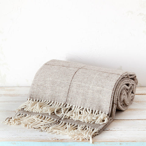 Maragata Wool Brown Stripe Blanket