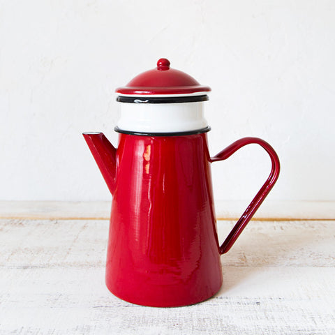 Red Enamelware Coffee Pot with Filter