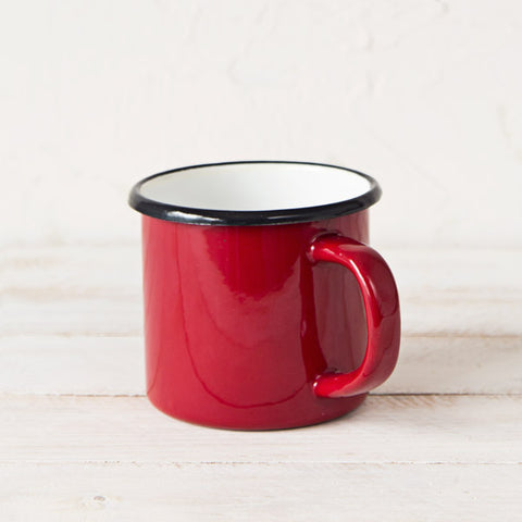 Large Red Enamelware Mug