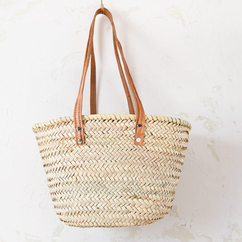 Palm Basket with Long Leather Straps
