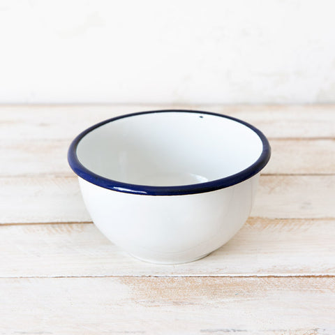 White Large Enamelware Bowl