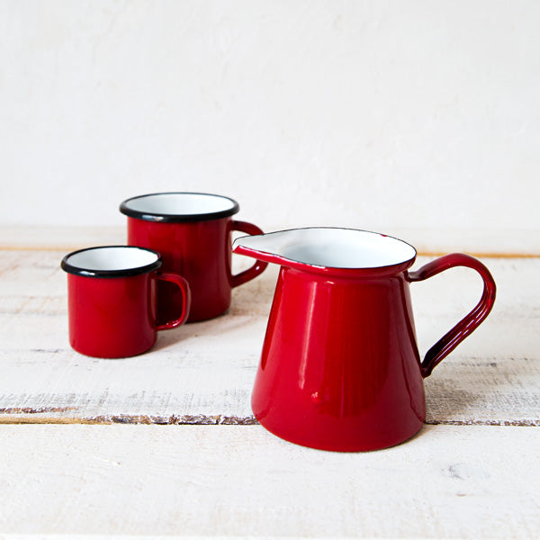 Red Enamelware Milk Pitcher