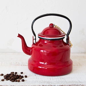 Red Enamelware Kettle