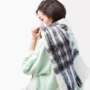 Mohair Tartan Black and White Scarf