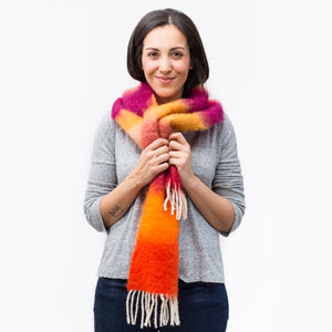 Mohair Orange Stripes Foulard