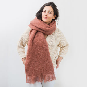 Mohair Tile Red Scarf