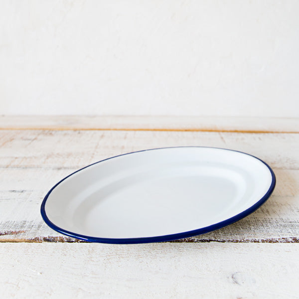 White Enamelware Serving Tray