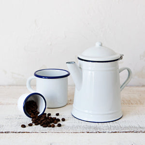 White Enamelware Coffee Pot
