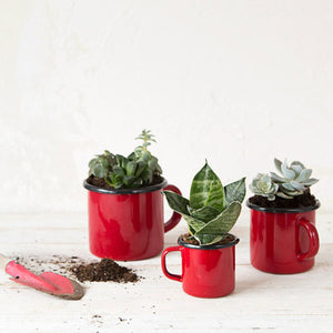 Enamelware Red Mug 3 Piece Set