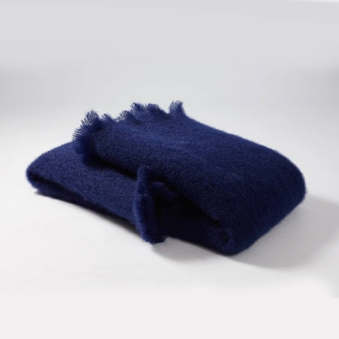 Navy Blue Mohair Blanket