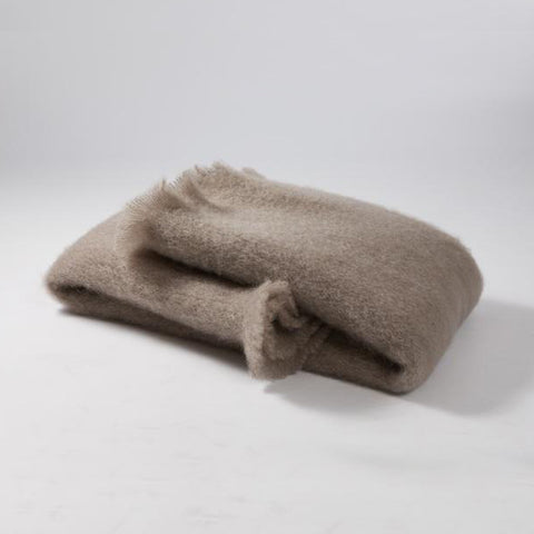 Mohair Taupe Blanket