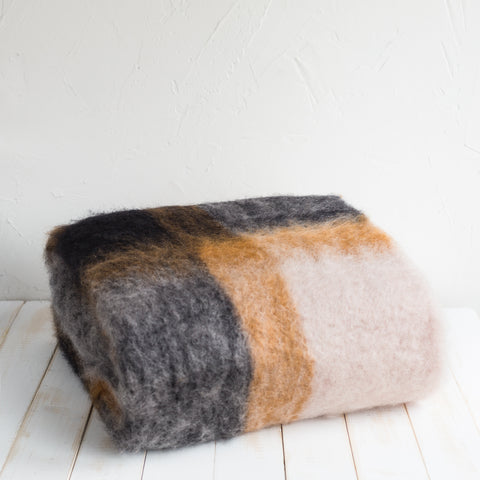 Mohair Plaid Gray Blanket