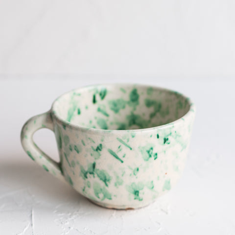 Ceramic Bowl Green Splatter