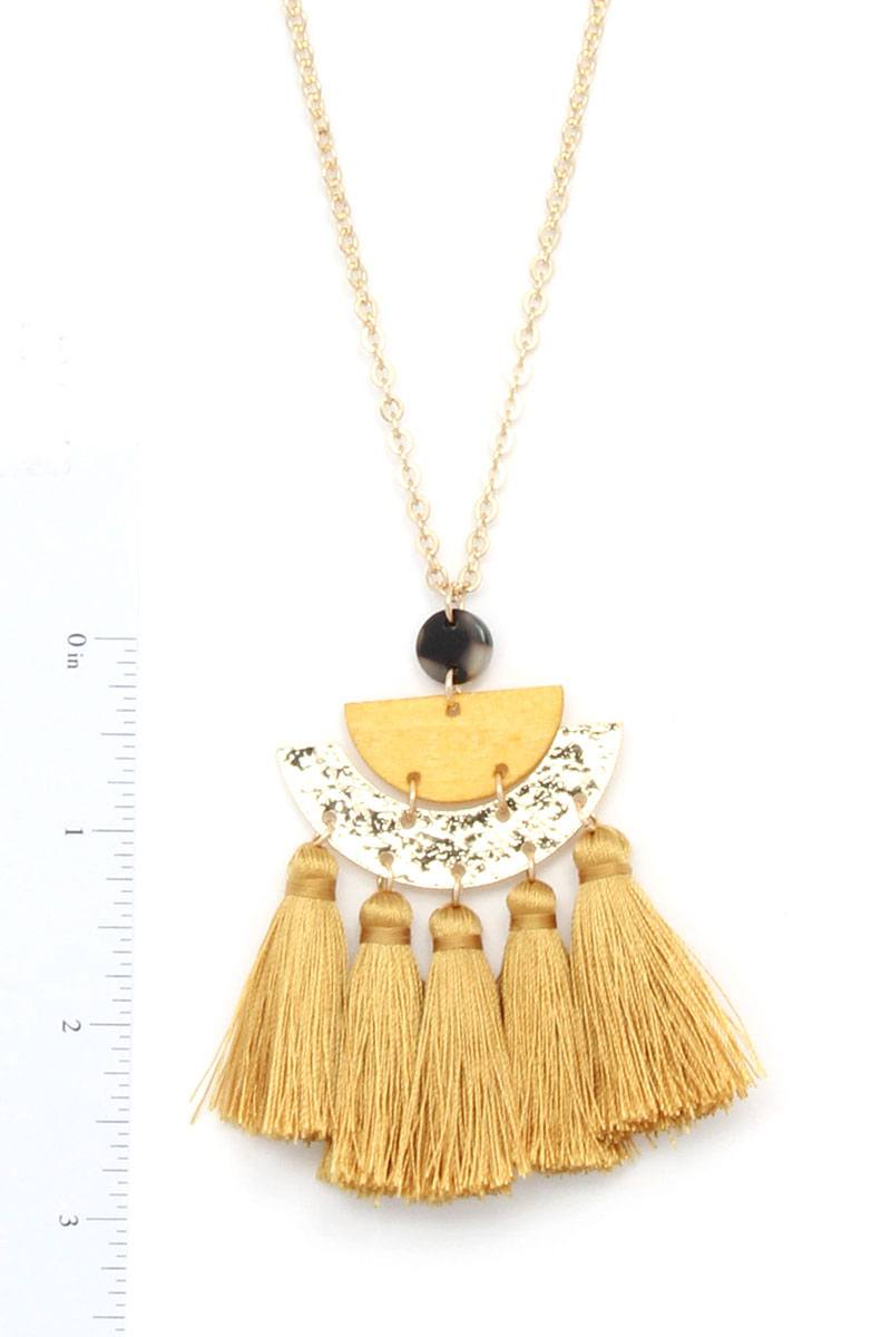 Half Circle Tassel Pendant Necklace