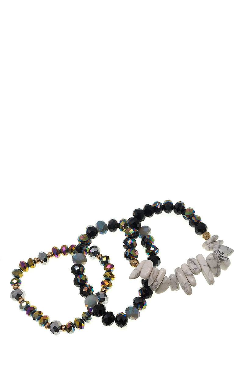 Multi Beaded Stone 3 Piece Set Stretch Bracelet