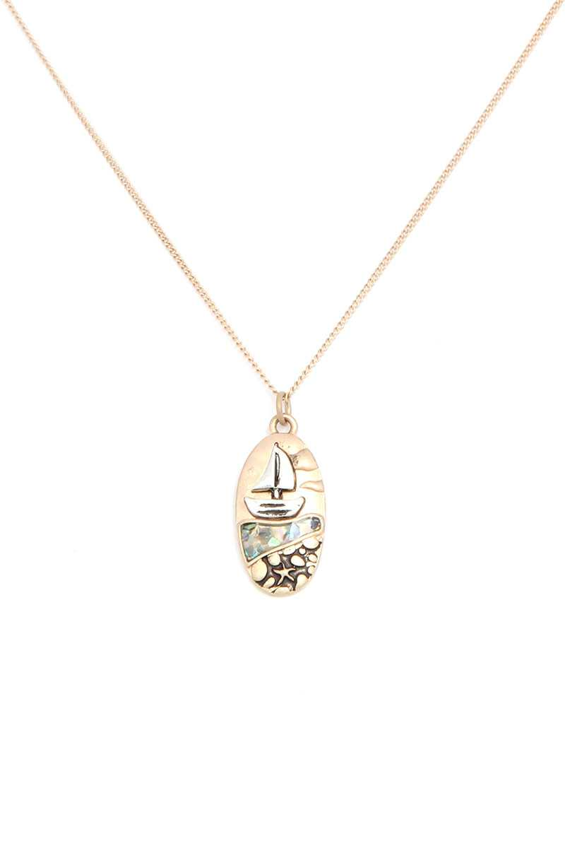 Boat Oval Shape Necklace