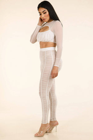Shirred Mesh Top & Ruched Mesh Leggings Set