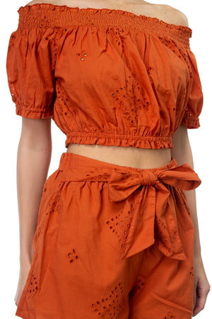 Smocked Off Shoulder Top & High Waist Eyelet Shorts Set