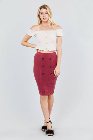 Button Detail Rib Midi Skirt