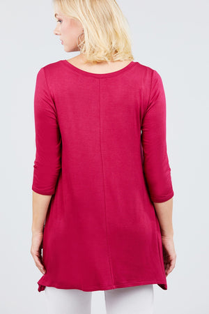 3/4 Sleeve Button Placket Rayon Spandex Top