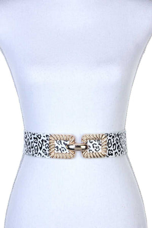 Square Metal Buckle Stretch Belt