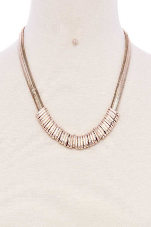Chunky Snake Chain With Rings Short Necklace