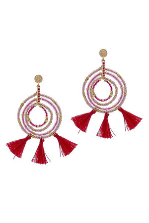Tassel Beaded Circle Earring