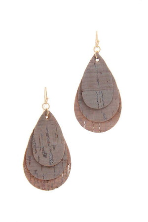 Cork Teardrop Shape Layered Drop Earring
