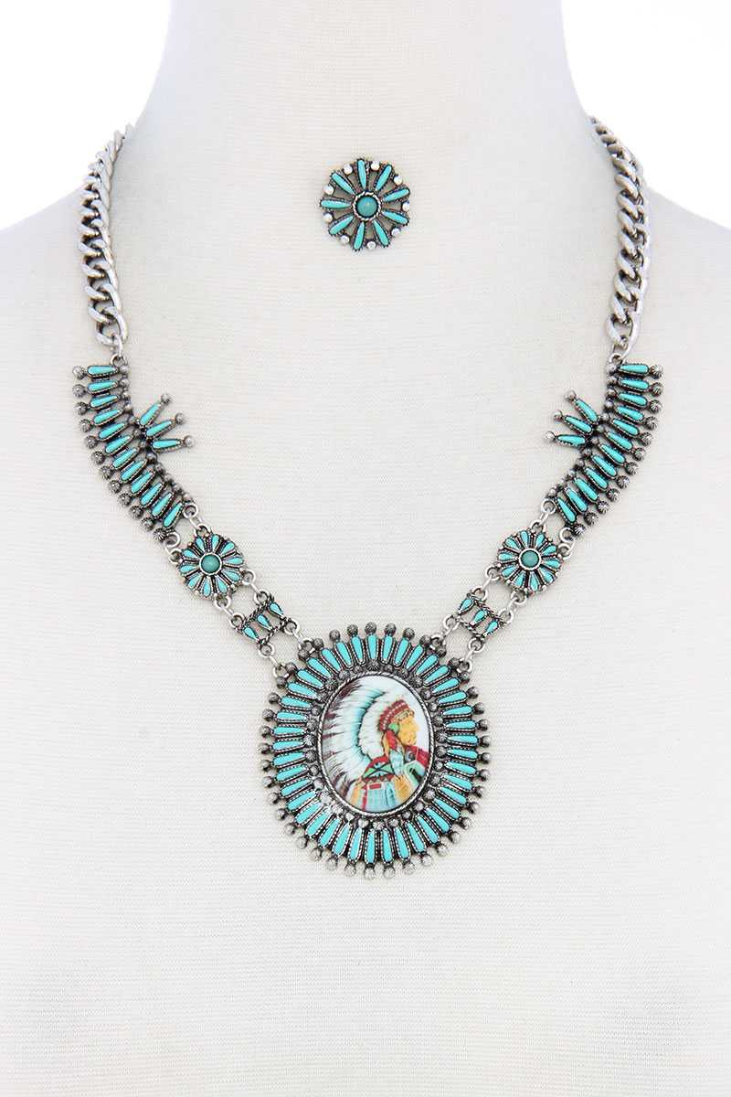 Multi Color Indigenous Pendant Necklace