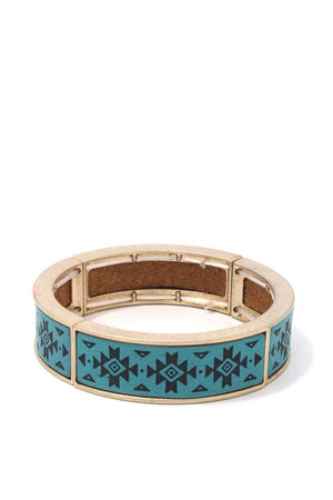 Aztec Pattern Metal Stretch Bracelet
