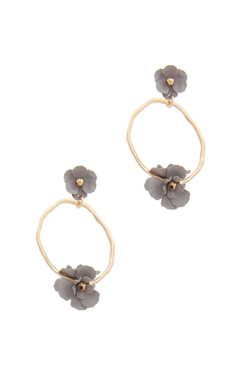 Flower Circle Post Drop Earring
