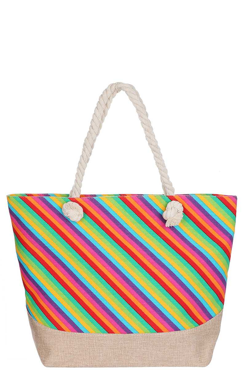 Fashion Rainbow Natural Shopper Bag