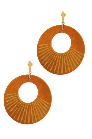 Fashion Wooden Circle Drop Earring