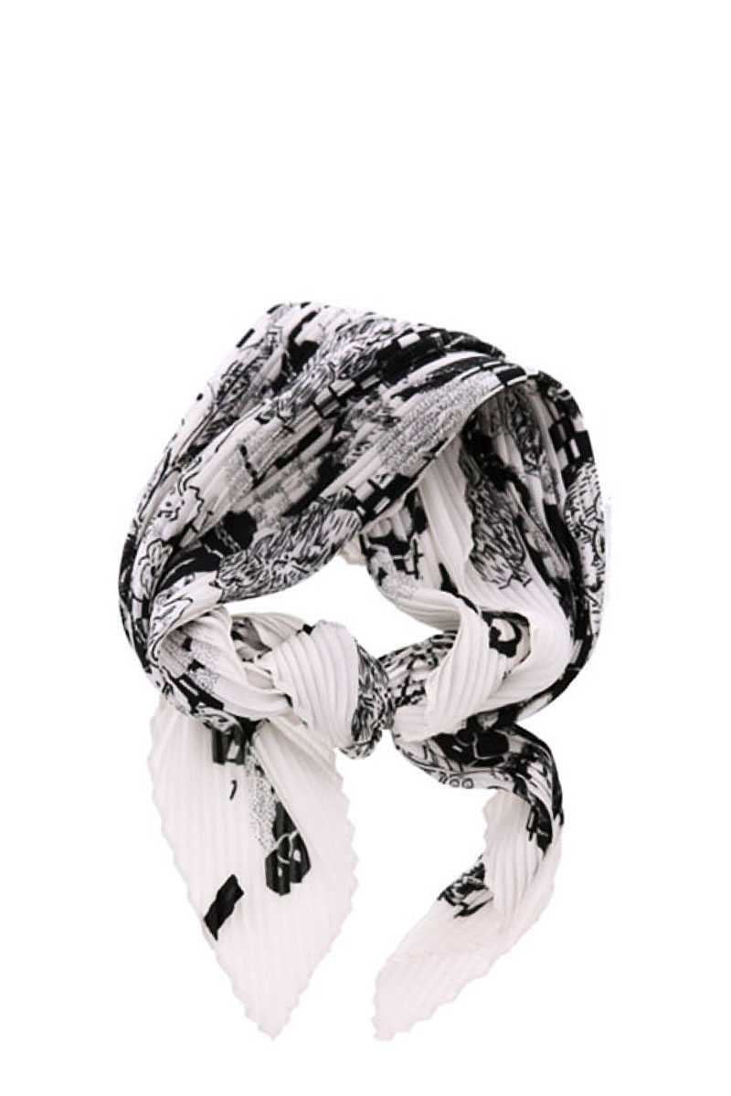 Stylish Pleated Floral Print Bandanna