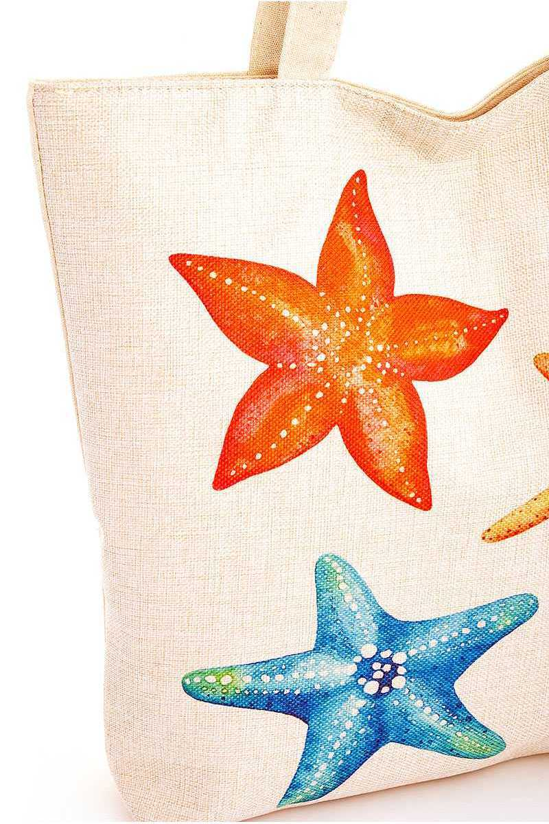 Rainbow Color Star Fish Print Ecco Tote Bag