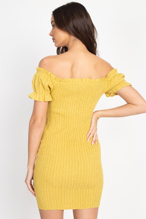 Off Shoulder Smocked Dress