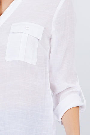 3/4 Roll Up Sleeve With Pocket Woven Shirts