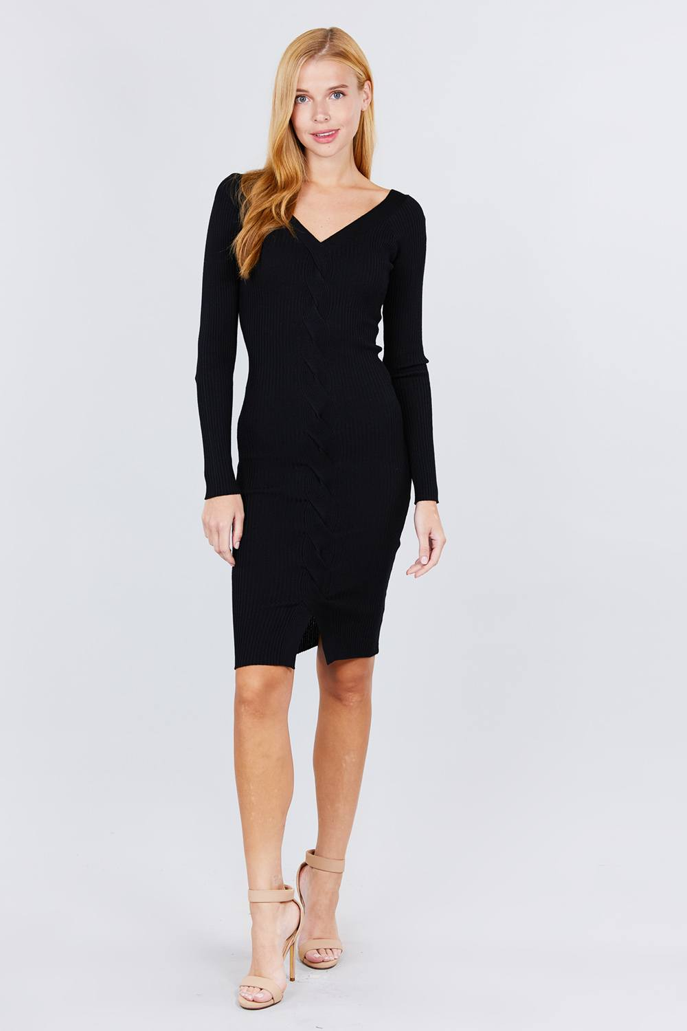 V-neck Twist Detail Sweater Dress