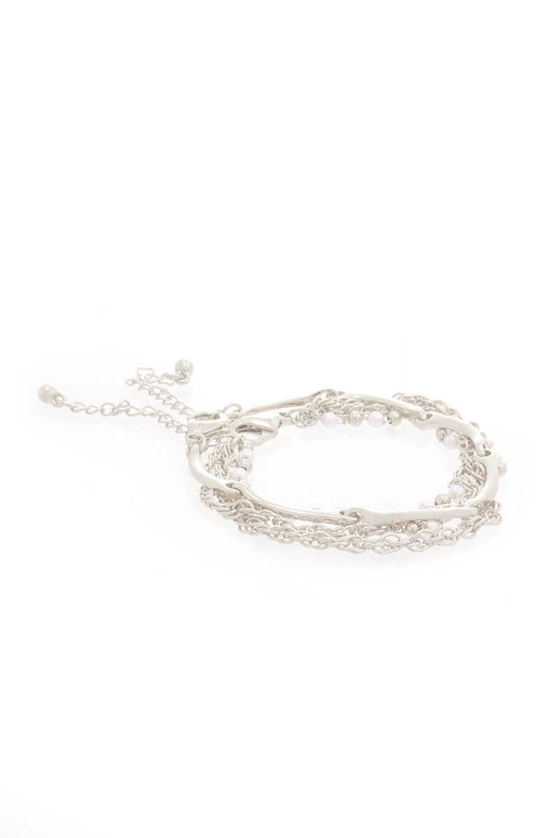 Pearl Point Multi Layered Chain Bracelet