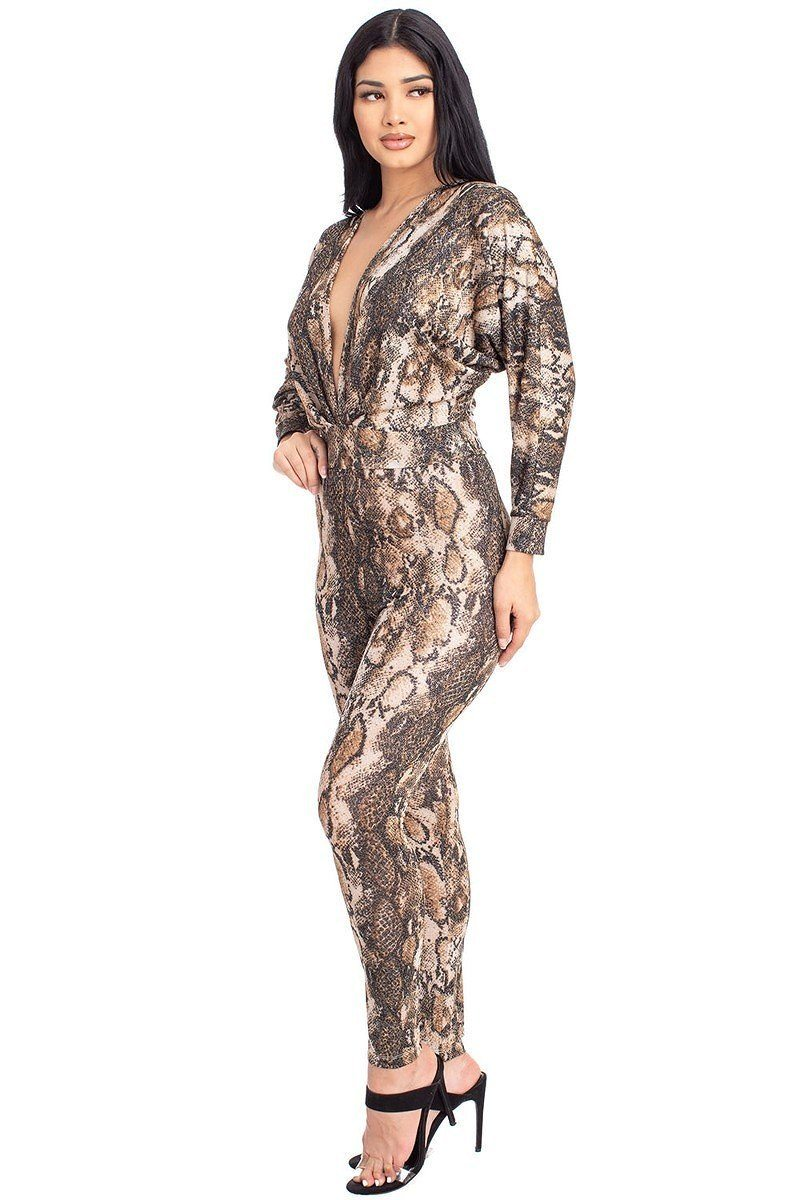 Animal Print Dolman Sleeve Jumpsuits