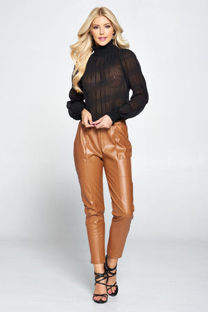Pleated Chiffon Mock Neck Blouse