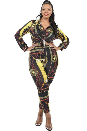 Plus Pattern Printed 2 Piece Legging Set