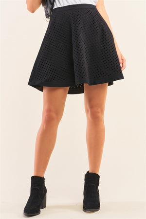 Black Laser Cut Scuba Skater A-line Mini Skirt
