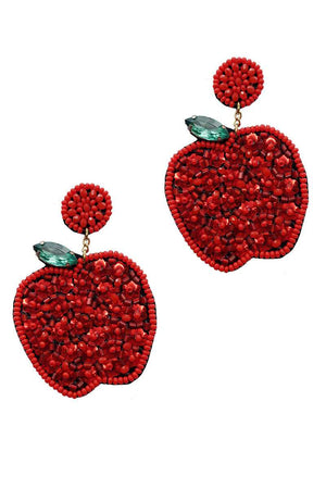 Fashion Cute Seed Bead Apple Drop Earring