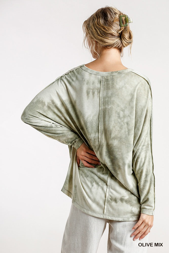 Tie-dye Round Neck Long Sleeve Top With Raw Edged Details