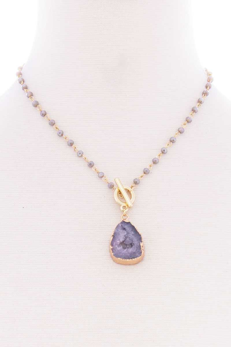 Ball Chain Natural Stone Pendant Toggle Clasp Necklace