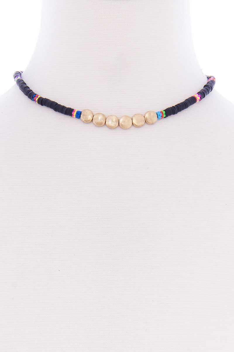 Multi Metal Round Short Necklace